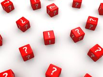 3d dice. 3d rendered illustration of many red dice with question marks Royalty Free Stock Image