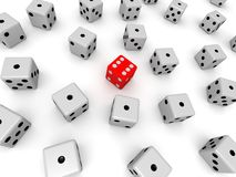 3d dice. 3d rendered illustration of many white and one red dice stock illustration
