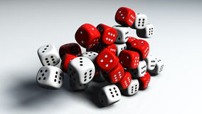 3d Dices. 3d render of several dices in two different colors Stock Photo