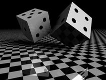 3d dices. On black & white checkboard Stock Photo