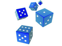3D dices - Blue. 3D rendered, rolling dices Royalty Free Stock Images