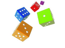 3D dices - colored. 3D rendered dices Stock Image