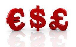 3d different currencies symbols Stock Photography