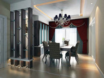 3d Dining room rendering Royalty Free Stock Images