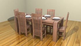 3D Dining room table. 3D oak Dining room table Stock Photos