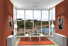 3D Dining Room With Fantastic View Stock Photography