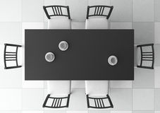 3d dining table. Top view Stock Photo