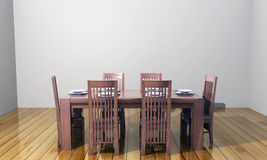 3D dining table. 3D oak dining table with chairs Royalty Free Stock Image