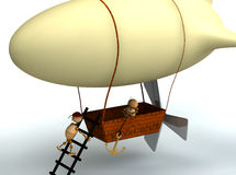 3d dirigible balloon with wood mans Stock Image