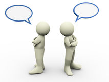 3d disagree people. 3d render of disagree two person with bubble speech Royalty Free Stock Photography