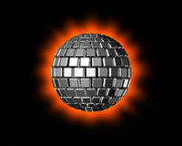 3D Disco ball. Three dimensional Shiny Disco ball isolated on a black background Stock Photography