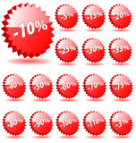 Shopping shop discount promotion vector badges badge special offer percent percents tag sticker icon label star banner coupon 5 10. 3D vector star badges with Stock Photos