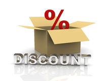 3d discount box. 3d illustration of percentage sign in a box and reflective word discount Stock Image