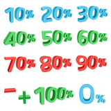 3D discount sums. The blue, green, red 3D discount sums isolated on the white background Stock Photography