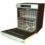 3D Dishwasher -Open. 3 D Computer Render of an Dishwasher Stock Photography