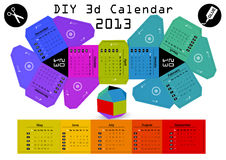 3d DIY Calendar 2013 3,1×2,9 inch compiled size. Hand made paper cut calendar Stock Image