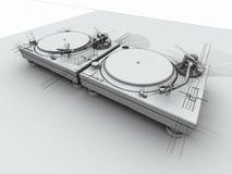 3d dj kreślą turntables ilustracja wektor