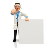 3D doctor with banner Royalty Free Stock Photos