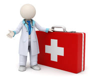 3d doctor and big red first aid case with cross. 3d rendered doctor standing near a big red first aid case with cross Royalty Free Stock Photos