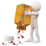3D Doctor emptying a bottle of pills. Rendered at high resolution on a white background with diffuse shadows Royalty Free Stock Image