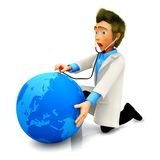 3D doctor examining the Earth Royalty Free Stock Photos