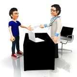 3D doctor handling a prescription Royalty Free Stock Photography