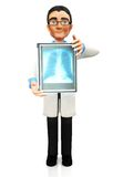 3D doctor holding an x-ray Royalty Free Stock Photo