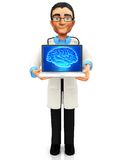 3D doctor with laptop Stock Photo
