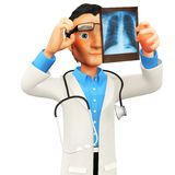 3D doctor looking an x-ray Stock Photography