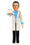 3D doctor with a personal card Royalty Free Stock Photography