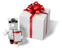3d doctor standing toward with his checking presents Stock Image