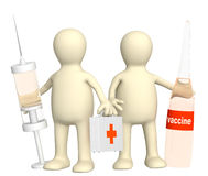 3d doctors with a vaccine Royalty Free Stock Image