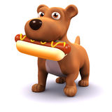 3d Dog with hot dog. 3d render of a dog eating a hot dog Stock Images