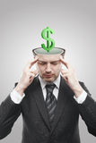 3d dolara zieleni inside mężczyzna pamiętał otwartego znaka Fotografia Royalty Free