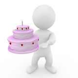 3D doll holding birthday cake. 3D character holding birthday cake Stock Images