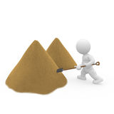 3D doll with shovel Royalty Free Stock Photos