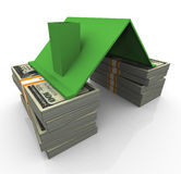 3d dollar house. 3d house roof on money stack. Concept of real state Stock Photography