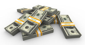 3d dollar packs Stock Photo