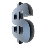 3D Dollar or Peso Sign Stock Photography