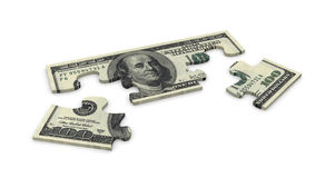 3d dollar puzzle. 3d hundred dollar puzzle peaces Stock Photos