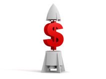 3d dollar with a rocket Stock Image