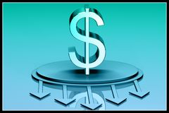 3d dollar sign with arrows Stock Images