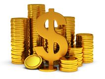 3D Dollar sign and golden coins on white Stock Images