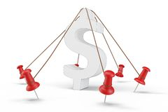3d dollar sign tied down. On white background Stock Image