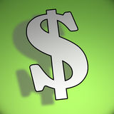 3d dollar symbol. On green background Stock Images