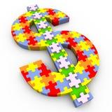 3d dollar symbol puzzle Stock Image