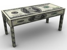3d dollar table Royalty Free Stock Photography