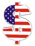 3D Dollar with US Flag. On white isolated background Royalty Free Stock Images