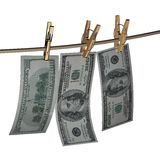 3d Dollars hanging Royalty Free Stock Photos