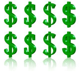 3D dollarsymbolen Royalty-vrije Stock Fotografie